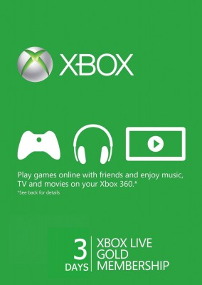 Xbox Live Gold 72 hours